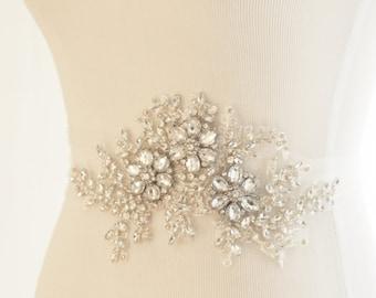 Bridal Crystal Sash, wedding belt, wedding sash, rhinestone wedding belt, tulle sash, Style Clara