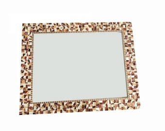 Brown Wall Mirror // Mosaic Wall Art // Home Decor // Stained Glass Mosaic