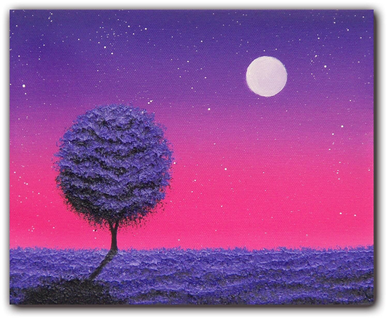 ORIGINAL Art Contemporary Art Night Landscape Painting Purple