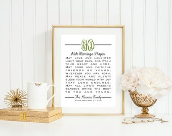 Monogram Irish Marriage Prayer - Great Wedding, Anniversary or Life Occasion GIft