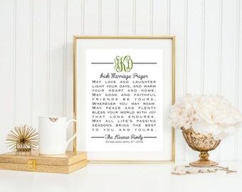 Monogram Irish Marriage Prayer - Great Wedding, Anniversary or Life Occasion GIft