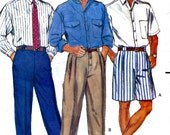 Men's Dress Shirt, Shorts and Pants Sewing Pattern Butterick 3217 Size XS S MD