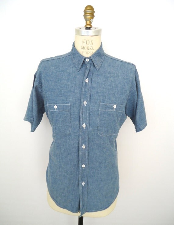 Vintage Chambray Shirt Five Brother Blue Buttondown Work