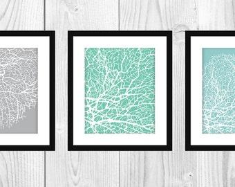 "Modern Coral Art Prints, Set of 3 5x7"" Printable"