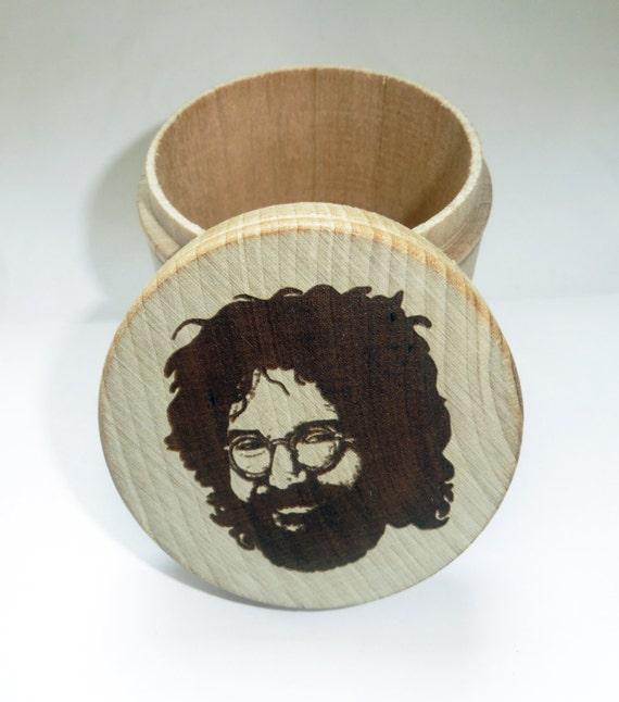 Large stash / trinket jar with wood burned lid -  jerry garcia face