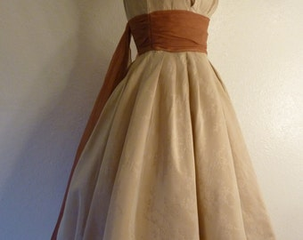 Designer Lorrie Deb 1950s Beige Taffeta Party dress with Organza tails- x small size