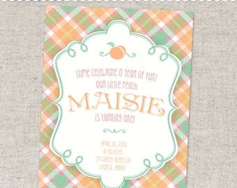 Peach Party Invitation - Printable Digital File or Printed Invitations with Envelopes - FREE SHIPPING
