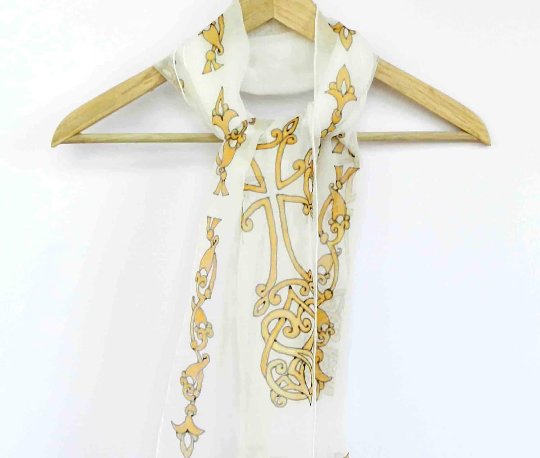 christian cross silk scarf painted cross religious