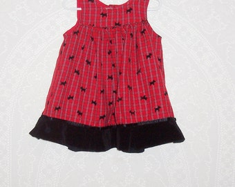 Size 3T - Toddler Girls' Vintage Jumper - by Samara  - Red - Black Velvet - Scottie Dog