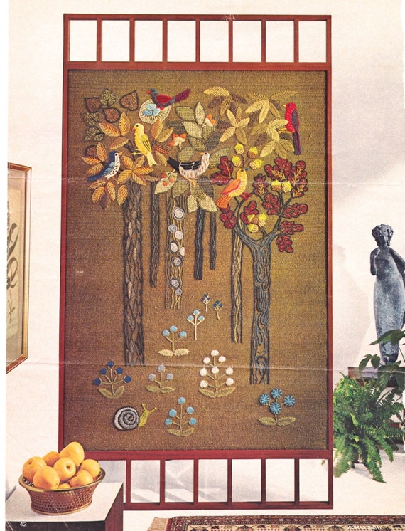 vintage 1966 erica wilson crewel embroidery room divider or