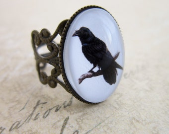 Bronze Raven Filigree Ring - Steampunk Cabochon Crow