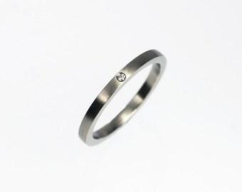 Matte Palladium ring with diamond, thin wedding ring, wedding band, diamond ring, simple wedding ring, modern diamond band, contemporary