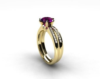 engagement ring set, Amethyst ring, Diamond band, wedding ring set, yellow gold, pave, solitaire, diamond engagement, amethyst