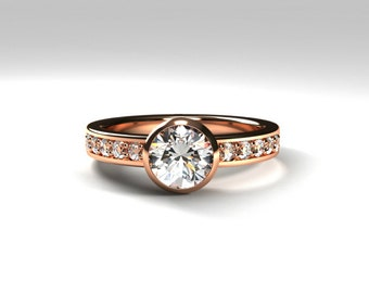 White  Topaz engagement ring, rose gold, diamond ring, topaz solitaire, bezel, yellow gold, white gold, topaz wedding, white gem, custom