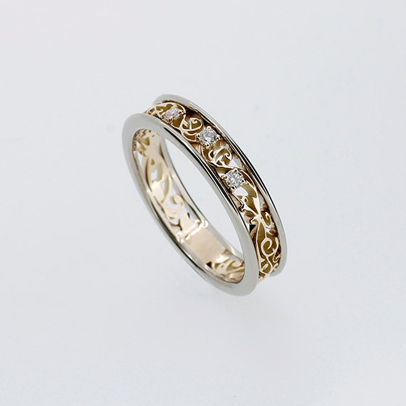 white sapphire ring gold wedding band by torkkelijewellery