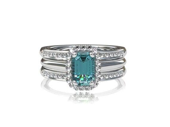emerald cut aquamarine engagement ring set white gold