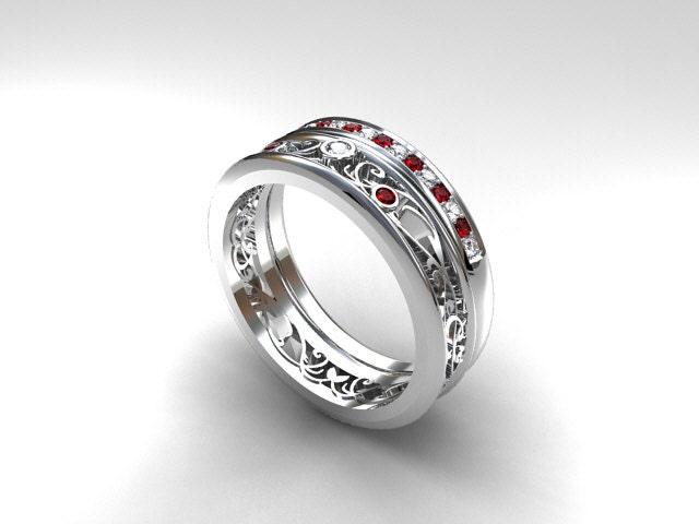 Engagement Ring Set Filigree Ring Ruby Engagement Ring