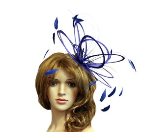 Royal Blue Feather Fascinator Hat - wedding, ladies day - choose any colour feathers & satin