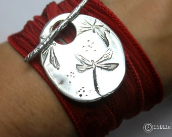 Dragonfly Jewelry Gift for Her Silk Wrap Bracelet Dragonfly Silk Wrap Bracelet Inspirational gift for her