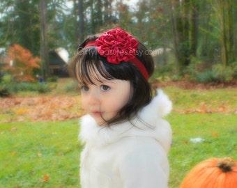 Wine Satin Flower Headband. Baby Headband. Newborn Headband. Girl Headband. Photo Prop.