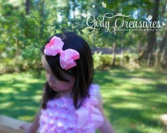 Pink Satin Bow Headband. Baby Headband. Girl Headband. Toddler Headband. Newborn Headband. Photo Prop.