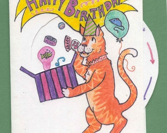 Movable Wheel Birthday Card - Cat