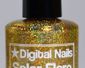 Solar Flare: an insane sparklefest of gold holographic glitter nail lacquer by Digital Nails