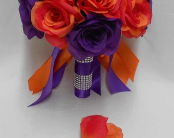 Wedding  Silk Flower Bridal Bouquet Purple Orange Roses  Bride's bouquet  Groom's Boutonniere FREE SHIPPING