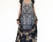 NO.108 Black, Brown and Dark Blue Cotton Jersey Low Neck Lace Printed Racerback Sleeveless Dress, Maxi Dress