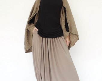 NO.141   Brown Double Cotton Gauze Shrug, Full Buttons Scarf, Crinkle Cotton Scarf
