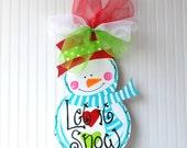 Door Hanger: Unfinished Wood Cutout, Snowman, Christmas Decor, Christmas Door Hanger, Holiday Decor