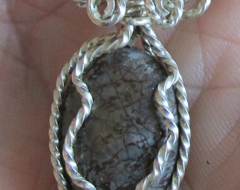 Jasper gemstone Cabachon in Silverfilled  wire Pendant.
