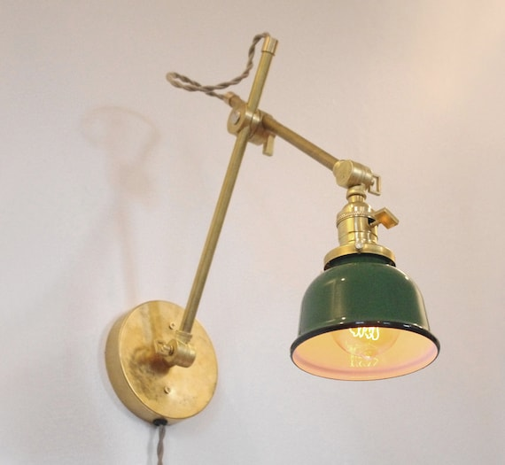 Industrial Wall Light Shades: Petite Industrial Wall Lamp Pharmacy Articulating Boom Wall