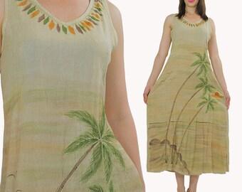 Embroidered Maxi Dress Hippie Bohemian gauze dress Tribal Beige summer sun dress