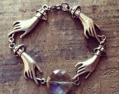 Crystal Ball- Victorian Hand Chain & Iridescent Vintage Crystal Bracelet