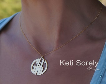 Modern Letter Monogrammed Initials Pendant - Small to Large Sizes - (Order Any Initials)-24K Yellow Gold over Sterling Silver