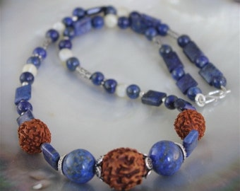 Necklace lapis lazuli, mother-of-pearl, seeds rudraska and money(silver)