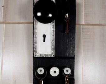 Coat and Key Rack Architectural Salvage Wood Vintage Door Knob