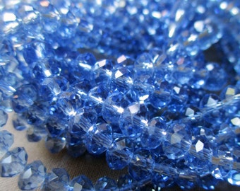 4 mm x 6 mm faceted glass rondelle beads crystal clear medium blue classic abacus, lot of 20 pcs