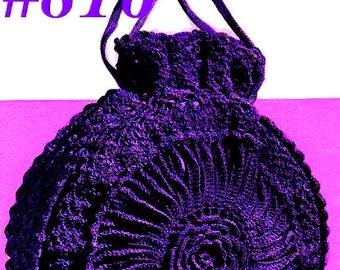 Vintage 1940s Pleated Drawstring Flower Bag 816 PDF Digital Crochet Pattern