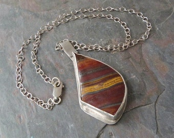 Asymmetrical Red Jasper Pendant Necklace in Sterling Silver, Handmade, Natural Stone