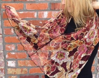 """French Designer Lace """"Autumn Cranberry"""" Cowl Neck Poncho Scarf"""