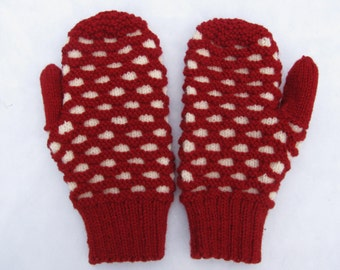 Red Handknit Newfoundland Mittens Adult Small