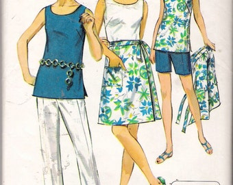 Vintage 1964 Simplicity 8264 Jiffy Wrap-Skirt, Top & Pants Two Lengths Sewing Pattern Size 16 1/2