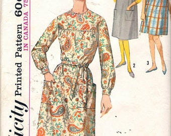 """Vintage 1962 Simplicity 5213 Dress, Sleeveless Dress or Jumper Sewing Pattern Size 14-16 Bust 34"""" -36"""""""