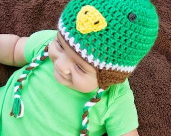 Mallard Duck Beanie, Mallard Duck Costume, Duck Beanie, Baby Shower Gift, Photo Prop, Crochet Photo Prop