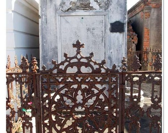 Tomb and  Ironwork Photo - New Orleans Photography - Cemetery Photo - Revolutionary War Tomb Print - Eternal - New Orleans Ironwork Print