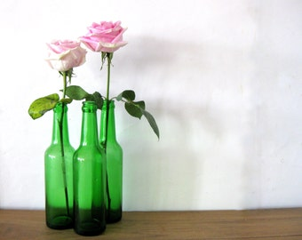 Vintage Green Glass Bottles, Set of 3, Vintage Pop, Soda, Beer Bottles, Instant Collection of Green Bottles, Duraglas