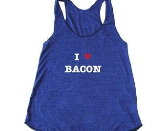 """Women's Foodie """"I Heart Bacon"""" Tank Top in many sizes."""