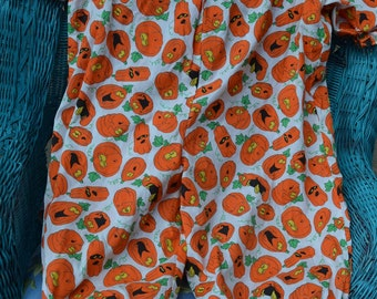 Vintage Pumpkin One-Piece Ruffled Halloween Costume, Girl 6-8 Years, Silly Smiley Scary Pumpkin Faces, Handmade Cotton Fabric, White Orange